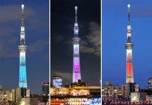 Tháp Tokyo Skytree thay đổi ba màu hằng ngày.