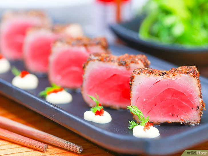 Kết quả hình ảnh cho cá ngừ cắt khối áp chảo